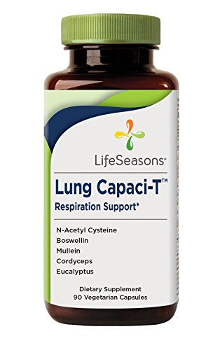 Lung Capaci-T - Lung Detox and Respiratory Supplement - Helps Reduce Phlegm - with Ginkgo Biloba, Eucalyptus, N-Acetyl Cysteine, Mullein, Boswellin (90 Capsules)