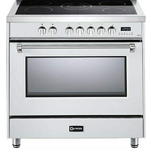 Verona Designer Series VDFSEE365W 36 Inch 5.0 Cu. Ft Electric Range Oven 5 Burners Dual Center Element Smoothtop Black Ceramic Cooktop Convection White