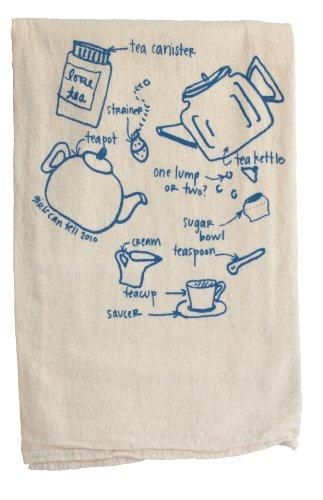 Girls Can Tell TN050 Tea Set Diagram Floursack Towel, unbleached cotton