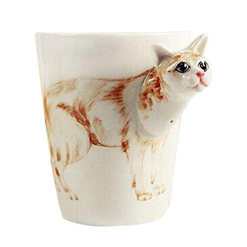 300-400ml Cutie animal ceramic cup/Tea pot set for Home decoration (Cat) -