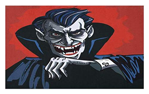 Lunarable Vampire Doormat, Cartoon Cruel Old Man with Cape Sharp Teeth Evil Creepy Smile Halloween Theme, Decorative Polyester Floor Mat with Non-Skid Backing, 30 W X 18 L Inches, Blue -