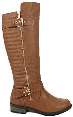 Mango-20 Tan Dual Gold Decorative Zipper/Buckle Quilted Motorcycle Riding Knee High Boots-6.5