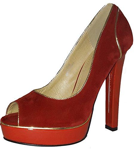3-W-Hohenlimburg Topmodische Sehr Hohe Pumps High Heels Peep Toe in Schwarz, Blau, Rot, Beige oder Braun. Damenschuhe, Schuh für Damen, Topaktueller Trendschuh Rot