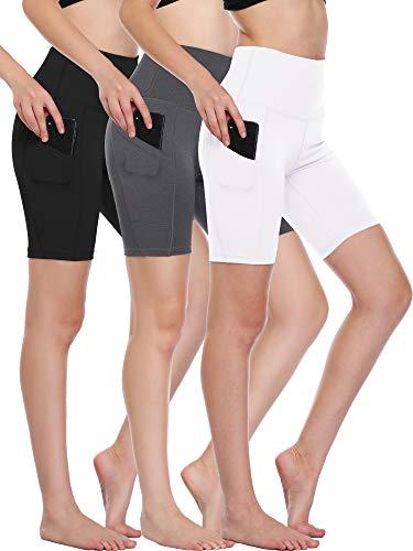 Cadmus Workout Shorts with Pockets High Waist Tummy Control for Yoga,10,Black,Grey,White,Medium