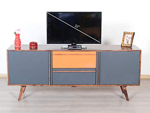 WOODDEKOR Jyper Solid Wood T V Cabinet|Tv Entertainment Unit with Two Door & Two Drawers (Natural Finish)…