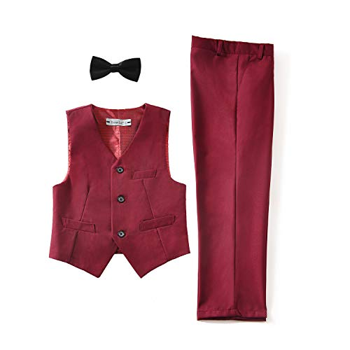 Yuanlu Kids Formal Vest and Pants Set Burgundy for Boys Dress Wear Suits Size 14