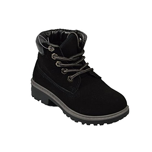 G4U-Golden Road GR13015 Children's Boots Lace up Padded Collar Combat Booties Working Hiking For Kids/Girls/Boys