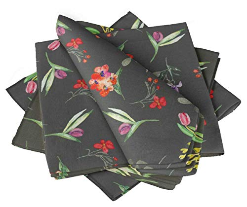 S4Sassy Gray Leaves & Tulip Floral Dinner Table Linen Re-Usable Printed Decor Napkins Set 22 x 22(Pack of 6) ()