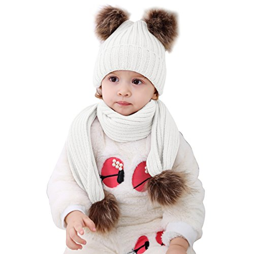 - 2pcs Baby Girls Boys Winter Hat Scarf Set, Infant Toddler Newborn Baby Knit Warm Beanie Cap Ski Hat + Scarf with Pom Pom Ball (Hat+Scarf White)