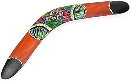 Boomerang pared pintado a mano. Decoración aborigen Australia ...