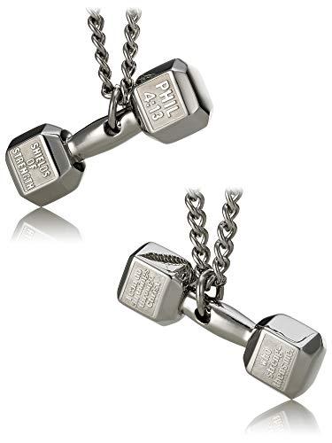 Men's Stainless Steel Dumbbell Necklace- Phil 4:13 ()