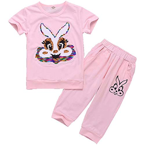 Tsyllyp Girls Children Kids Rabbit Magic Sequins Pants Set Cotton Clothing Sets
