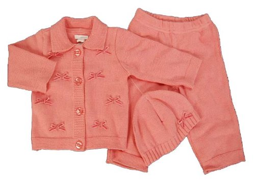 First Impressions Sweater - First Impressions Infant Baby Girl 3pc Winter Blossom Pink Bow Knit Sweater, Pants, Hat (6-9 Months)