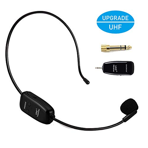 Wireless Microphone Headset, UHF Wireless Mic Headset and Handheld 2 In 1, 160 ft (50M) Range, Rechargeable for Voice Amplifier, Stage Speakers, Teacher, Tour Guides, Fitness Instructor