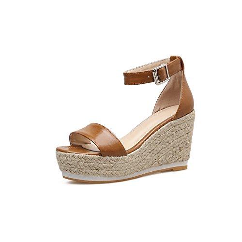 Negro Sra ranurados Verano para Femenina de Pendiente Alto Tacón con Primavera Impermeable y ZHZNVX los Paja 39 Zapatos Taiwán La Gruesa Sandalias RqWv4wnPp5