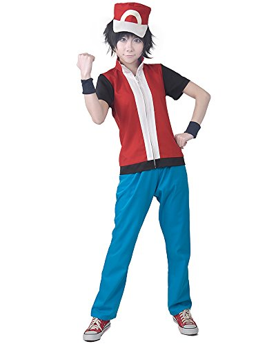 [Miccostumes Men's Pokemon Cosplay Costume Large Red and Blue] (Pokemon Character Costumes)