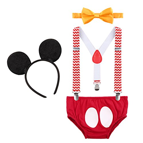 Baby Boys First Birthday Christmas Costume Cake Smash Outfits Y Back Suspenders Bloomers Bowtie Set Mouse Ear #13 Chevron Striped+Red 12-18 Months -