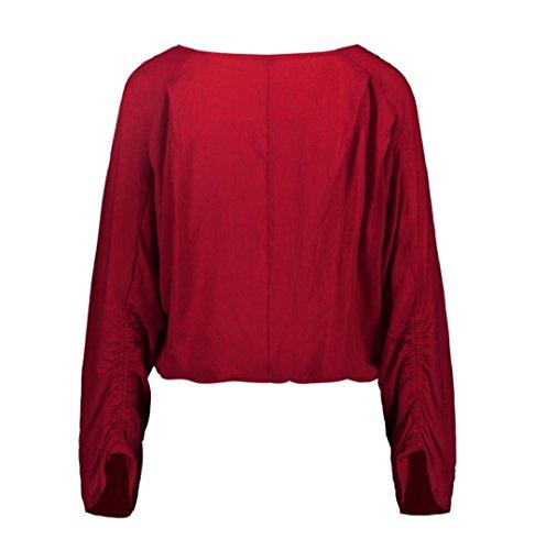 ZEZKT Damen Bluse Modern-Fit Freizeit Hemd Longshirt Baumwolle Button-Down Tunika Knopf Übergröße Bluse Tops Einfarbig Casual Reizvolle Revers Schlank V-Ausschnitt Hemd Druckknopf Wine