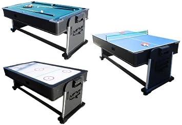 3 en 1 Multi Juegos Mesa – Piscina, Hockey de Aire y Ping Pong Giratorio por Berner Billar: Amazon.es: Deportes y aire libre