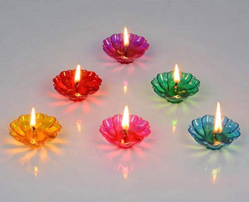 Designer Transparent Diya Gift (Set of 12) for Diwali Decoration