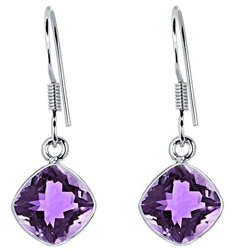 3 Ct Purple Amethyst Gemstone Birthstone 925 Sterling Silver Dangle Earrings Cushion 7x7mm For Women