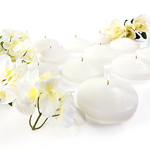 3.25' White Unscented Dripless Floating Tealight Shape Candles Set (24 Pack) (White)