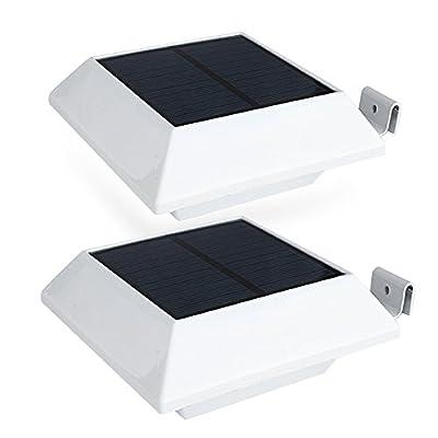 HOSHINE (2 Pack) Solar Powered Motion Sensor Lights/ Security light Outdoor PIR Sensor 6 Led/ Waterproof Durable/ Gutter Fence Driveway Garden Patio Path Decking Light// Made For Quality Outdoor Life