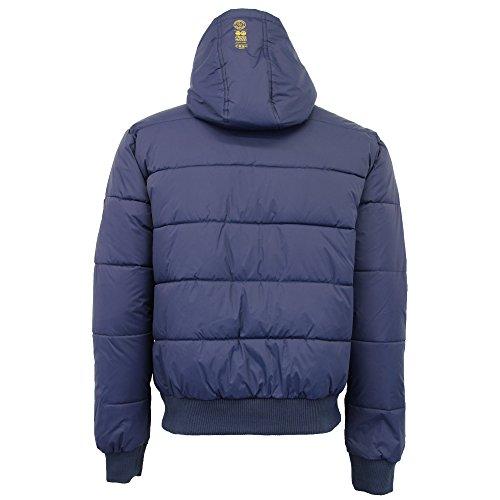 Mood Invernale Crosshatch Uomo Pile Zip Imbottito Giacca Indigo Trapuntato By Cappotto Con In Cappuccio Foderato BTO8q