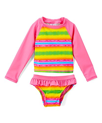 INGEAR Toddlers & Baby Girls Swimsuit Two-Piece Tankini Rash Guard Set UPF 50+ UV Swim Shirt Bikini Swimsuit (Pink Tie Dye, 3T) ()