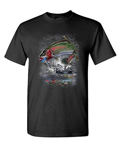 RAINBOW TROUT JUMPING fishing hunting fish - Mens Cotton T-Shirt, XL, Black - Jumping Trout