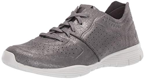 Skechers Women's Seager-Major League-Perfed Metallic Lace Up Jogger Oxford, Gunmetal, 5 M US