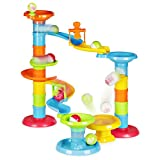 Happkid Ball Drop Tower Activity with Bridge, Ball Ramp Baby Toy Ball Roll for Educational Family Unlimited Fun (30 PCS )