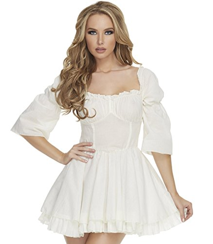 Mystery House Women's Pirate Dress, Off White, Large