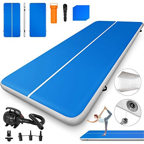 Happybuy 10ft 13ft 16ft 20ft 23ft 26ft 30ft Air Track 8 inches Airtrack 4 inches Inflatable Air Track Tumbling Mat for Gymnastics Martial Arts Cheerleading Tumble Track with Pump Blue 13ft 40x8in
