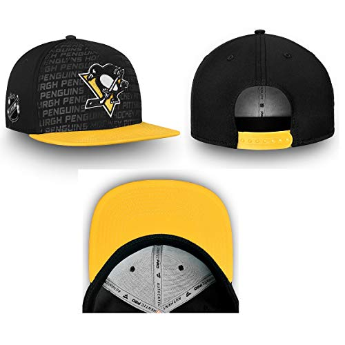 Pittsburgh Penguins Black Authentic Pro Rinkside Flat Brim Snapback Hat