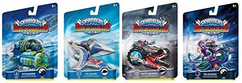 Skylanders SuperChargers Vehicle Bundle: 4 Vehicles: Dive Bomber, Sky Slicer, Crypt Crusher, Sea Shadow -- Sea, Sky, Land Vehicle Bundle Pack]()