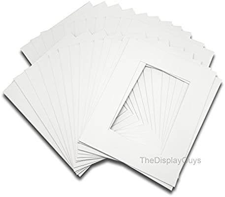 25pcs white complete set 25 sets 8x10 inches White Picture Photo Matting Mats Boards White Core Bevel Cut The Display Guys Clear Plastic Bags + Black Back Boards