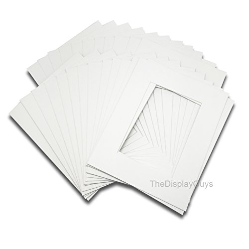 The Display Guys Pack of 25 Pre-Cut 11x14 white Picture Mats Board with White Core Bevel Cut for 8x10