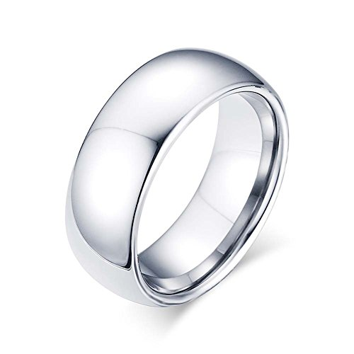 Men's Classic Sliver High Polished Domed Tungsten Ring Wedding Band 8mm Width Size - Elegance Eyewear