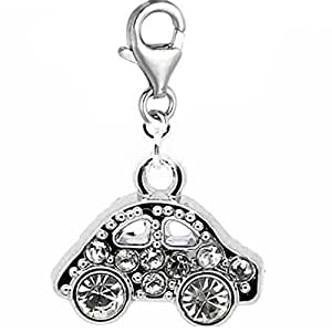 """Rhinestone"""" Clip on Car Charm """"Dangle Charm Pendant for European Clip on Charm Jewelry w/ Lobster Clasp"""