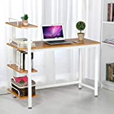 Yaheetech Home Office Computer Table with Storage Shelf, Wood Corner Study Writing Desk PC Laptop Table Workstation with 4 Tiers Bookshelves, Brown