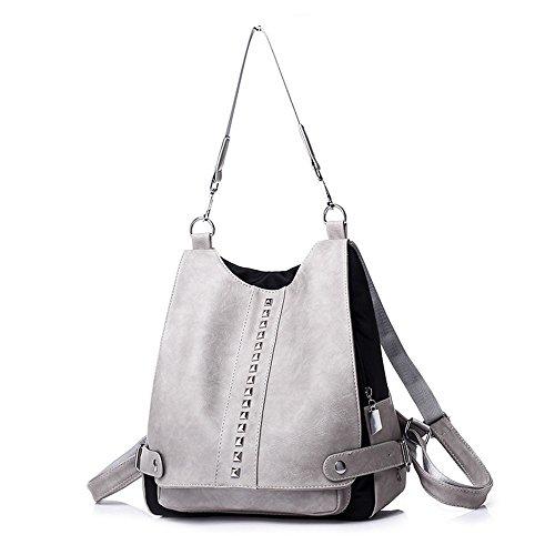 - Women Backpack Purse Casual Shoulder Bag Ladies Anti-theft Rucksack Girl Bookbag Rivet Studded Convertible Travel Bag (Light Grey)