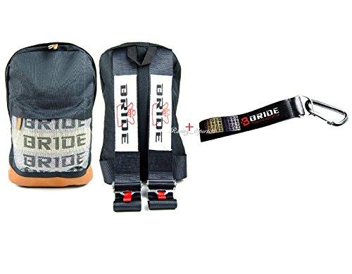 JDM Bride Racing Backpack W/Racing Harness Shoulder Black Bride straps + Bride Key chain with black -