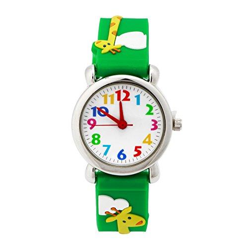ELEOPTION 3D Cute Cartoon Quartz Watch Wristwatches with Silicone band Time Teacher for Little Girls Boy Kids Children Gift (Giraffe Green) Time Giraffe
