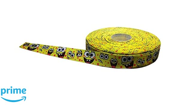 "Spongebob Squarepants Silly Faces 1/"" Repeat Ribbon Sold By The Yard USA Seller"
