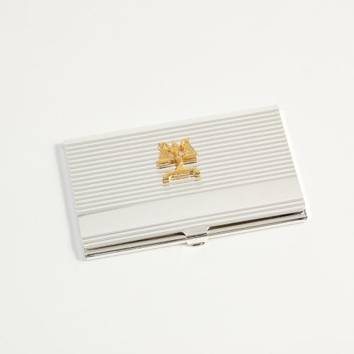 Silver Plated Business Card Holders - Silver Plated Legal Scales Business Card Case Holder
