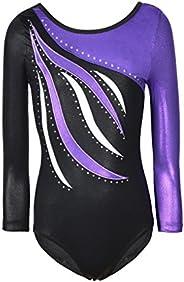 Ukyzddio Girls Long Sleeve Shiny Waves Metallic Athletic Dance Gymnastics Leotard Outfit