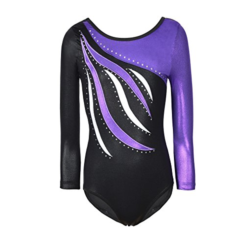 SanReach Long Sleeve Shiny Waves Metallic Athletic Dance Gymnastics Leotard Outfit For Girls Purple Waves Black Size 5