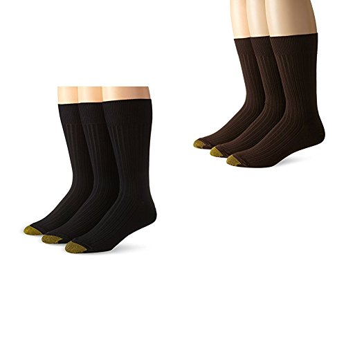 Gold Toe Men's Classic Canterbury Crew Socks (Pack of 6), Black/Brown, Shoe Size: 6-12.5