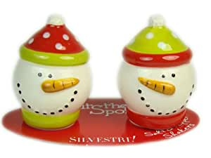 Hits The Spot Snowmen Mini Salt And Pepper Shaker Set